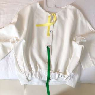 Massimo dutti white top with yellow/green bow & drawstring detail