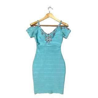 Cold Shoulder Teal/ Blue Bandage Dress