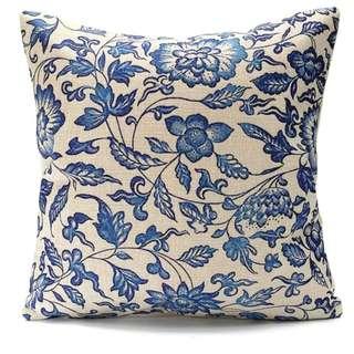 Vintage Oriental Floral Cotton Linen Pillow Case Cushion Cover in 3 designs. 45x45cm