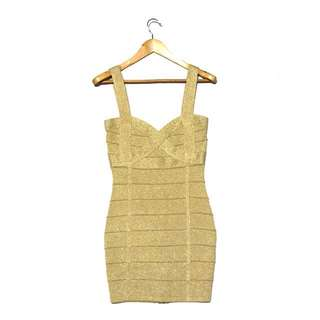 FOREVER 21 Gold Bandage Bodycon Dress