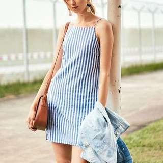 Blue Striped dress, A line.