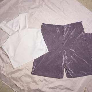 PINK PANTS // WHITE CROP TOP