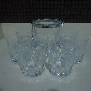 Crystal whisky glasses with ice bucket