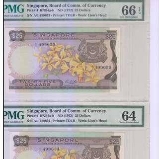 Singapore Orchid $25 A1 1st Prefix running pair - UNC
