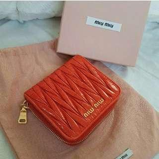 Genuine Miu Miu Leather Purse Wallet Orange
