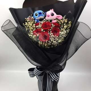 Preserved Fresh Rose Bouquet- 6 Stalk (5cm Ecuador Rose) with Lilo n Stitch with led lighting