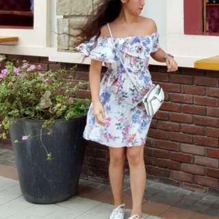 Floral white off shoulder dress
