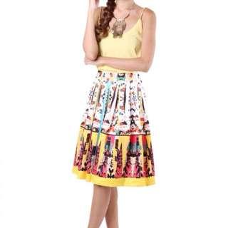 【MGP Label】Abstract Print Midi Skirt in Yellow