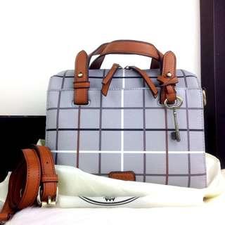 Fiona Grid Print Satchel Bag Fosl