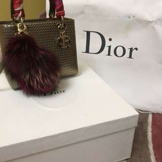 Authentic Medium Lady Dior Microcannage