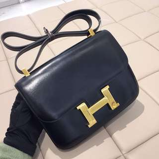 Hermes 深藍色 Box皮 Constance 24