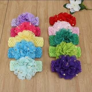 Elastic Dot Printed Chiffon Baby Girls Flower Headbands