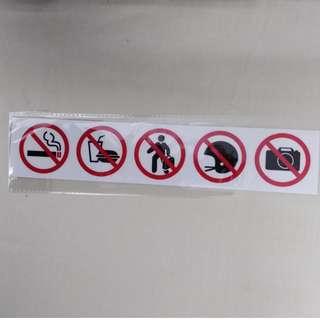 Prohibitive Sticker Signs 1 Set