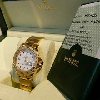 16628,Rolex yacht mather,18k金,Full set ,n頭 狀態良好,直殼  售價:$128000   地址 :重慶站商場(重慶大廈旁邊商場)202舖 留金歲月  電話:93338164