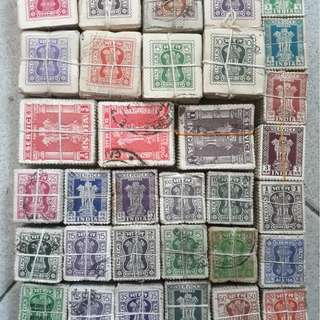 32 x 100 X india SERVICE Stamps ( 32 BUNDLES ) - ALL ARE DIFFERENT vintage