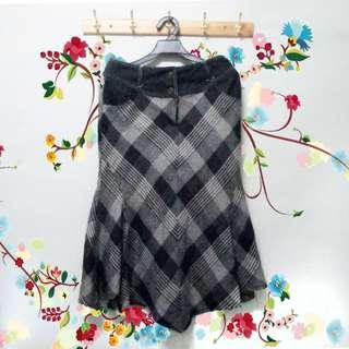 女裝薄羊毛呢格子及膝長裙學院復古魚尾裙32腰