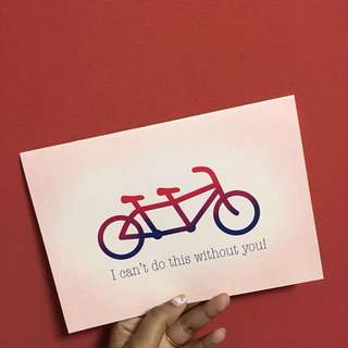 Valentine's Day tandem cycle card