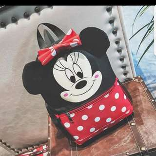 Minnie mouse design school bag for children backpack casual bag size is 22 × 9 × 32cm