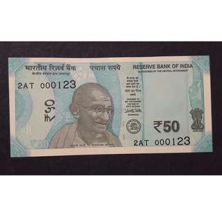 FANCY LOW SERIAL NUMBER 50 RUPEE NEW ISSUE BLUE COLOR