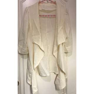 米色中袖外套 creamy yellow half sleeve jacket