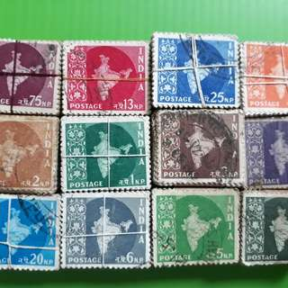 12 x 100 X india MAP Series Definitive Stamps ( 12 BUNDLES ) - ALL ARE DIFFERENT vintage
