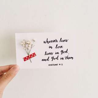 Bible verses on love - calligraphy floral cards