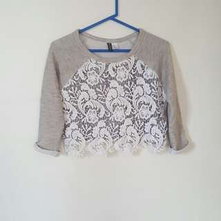 H&M cropped lace sweater