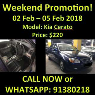 Fri - Mon WEEKEND PROMO Kia Cerato 1.6A
