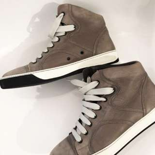 LANVIN Grey Leather Piped High Top Sneakers (MEN)