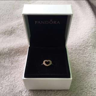 Pandora Open Heart Ring 925 Sterling Silver and 14CT Gold