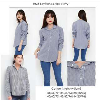 Hnm boyfriend stripe shirt