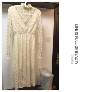 Made in Korea Beige Lace One Piece Dress with Fur