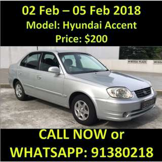 WEEKEND PROMOTION 2 - 5 Feb Hyundai Accent