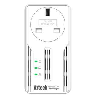 新加坡 Aztech 愛捷特 HL117EP HomePlug (家用電力線網路,電力網絡,500Mbps ,AC,Passthrough)