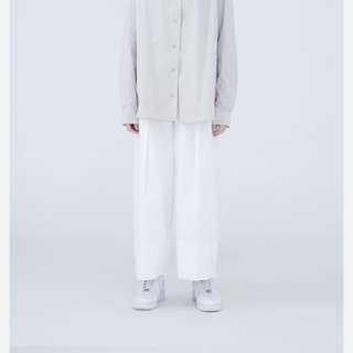 TRAN 泉 低活摺寬鬆八分褲