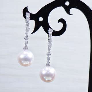 18K Pearl Diamond Earrings
