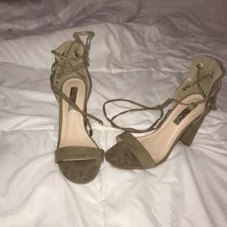 Khaki lace up heels