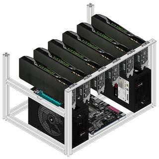 6 GPU Mining Rig Aluminium Frame