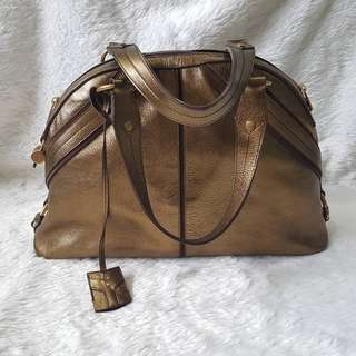 YSL YVES SAINT LAURENT BRONZE/GOLD MUSE DOME BAG
