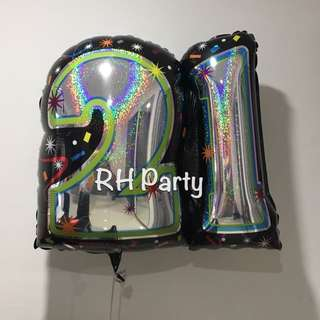 (31/1) Include Helium Happy Birthday 21 st / Twenty First number Foil Balloon