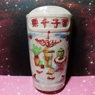 早期{百子千孫}筷子瓷筒