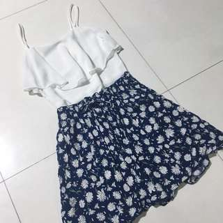 CO Navy Blue Floral Skirt