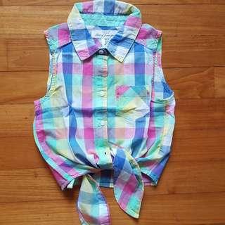 Sleeveless blouse; plaid blue, pink, yellow, pastel green;