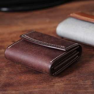 [ U'NIDO ] 原創手作 經典復古義大利植鞣牛皮雙層名片夾零錢包- 2色/ 大容量簡約實用/ 中性設計/ 暖心禮物