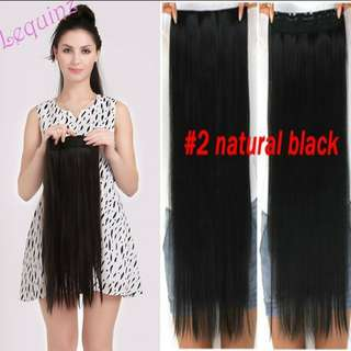 Natural Black 60cm Hair Extensions Clip on 5clips