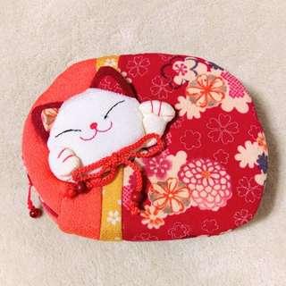 🚚 和風貓咪造型隨身包 化妝包 手拿包 錢包