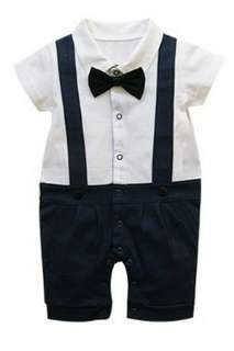 GENTLEMAN BOW TIE ROMPER - DARK BLUE
