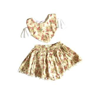 Vintage Gold Bib + Skirt Set