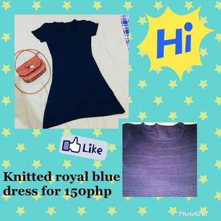 Knitted royal blue dress