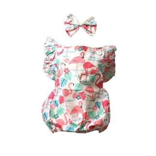 Flamingo Romper with Headband